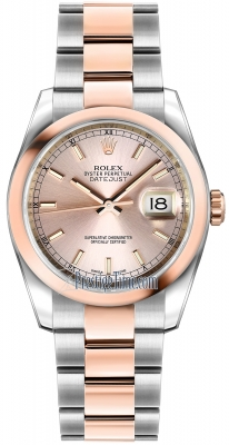 Rolex Datejust 36mm Stainless Steel and Rose Gold 116201 Pink Index Oyster