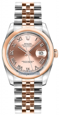 Rolex Datejust 36mm Stainless Steel and Rose Gold 116201 Pink Roman Jubilee