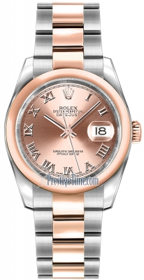 Rolex Datejust 36mm Stainless Steel and Rose Gold 116201 Pink Roman Oyster