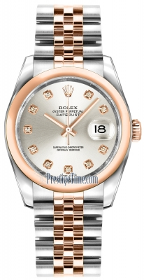Rolex Datejust 36mm Stainless Steel and Rose Gold 116201 Silver Diamond Jubilee