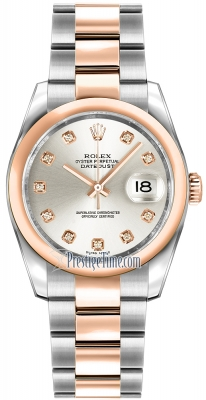 Rolex Datejust 36mm Stainless Steel and Rose Gold 116201 Silver Diamond Oyster