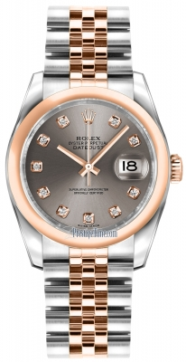 Rolex Datejust 36mm Stainless Steel and Rose Gold 116201 Steel Diamond Jubilee