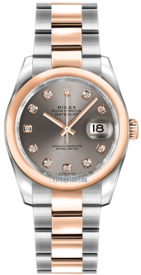 Rolex Datejust 36mm Stainless Steel and Rose Gold 116201 Steel Diamond Oyster