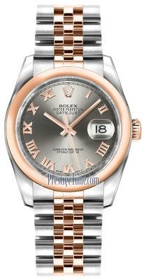 Rolex Datejust 36mm Stainless Steel and Rose Gold 116201 Steel Roman Jubilee