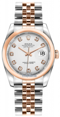 Rolex Datejust 36mm Stainless Steel and Rose Gold 116201 White Diamond Jubilee