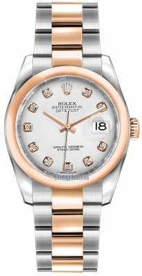 Rolex Datejust 36mm Stainless Steel and Rose Gold 116201 White Diamond Oyster