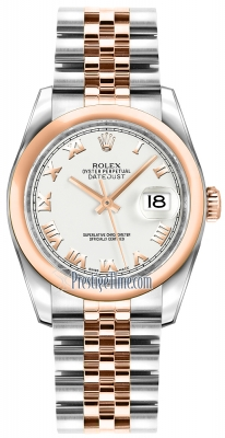 Rolex Datejust 36mm Stainless Steel and Rose Gold 116201 White Roman Jubilee