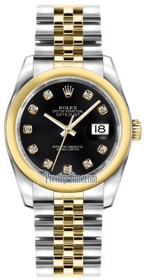 Rolex Datejust 36mm Stainless Steel and Yellow Gold 116203 Black Diamond Jubilee