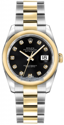 Rolex Datejust 36mm Stainless Steel and Yellow Gold 116203 Black Diamond Oyster