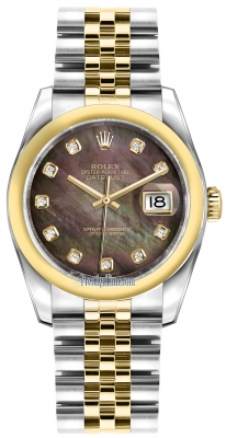 Rolex Datejust 36mm Stainless Steel and Yellow Gold 116203 Black MOP Diamond Jubilee