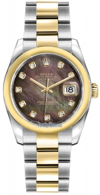 Rolex Datejust 36mm Stainless Steel and Yellow Gold 116203 Black MOP Diamond Oyster