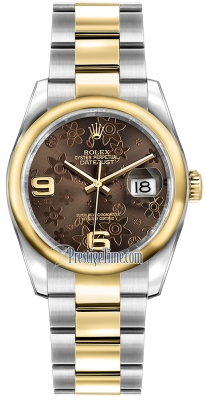 Rolex Datejust 36mm Stainless Steel and Yellow Gold 116203 Bronze Floral Oyster