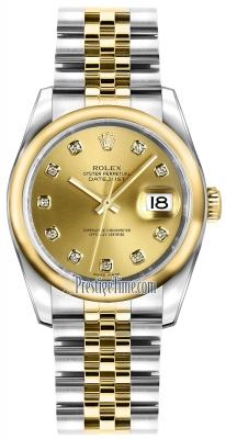 Rolex Datejust 36mm Stainless Steel and Yellow Gold 116203 Champagne Diamond Jubilee