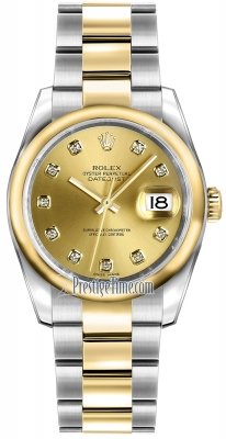 Rolex Datejust 36mm Stainless Steel and Yellow Gold 116203 Champagne Diamond Oyster