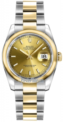 Rolex Datejust 36mm Stainless Steel and Yellow Gold 116203 Champagne Index Oyster