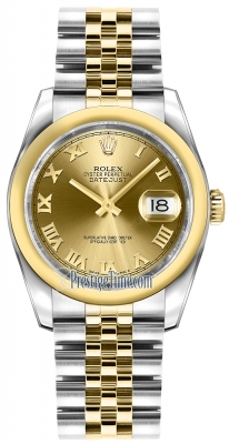 Rolex Datejust 36mm Stainless Steel and Yellow Gold 116203 Champagne Roman Jubilee
