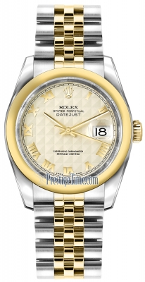 Rolex Datejust 36mm Stainless Steel and Yellow Gold 116203 Ivory Pyramid Roman Jubilee