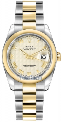 Rolex Datejust 36mm Stainless Steel and Yellow Gold 116203 Ivory Pyramid Roman Oyster