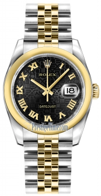 Rolex Datejust 36mm Stainless Steel and Yellow Gold 116203 Jubilee Black Roman Jubilee