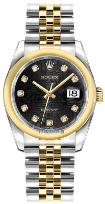 Rolex Datejust 36mm Stainless Steel and Yellow Gold 116203 Jubilee Black Diamond Jubilee