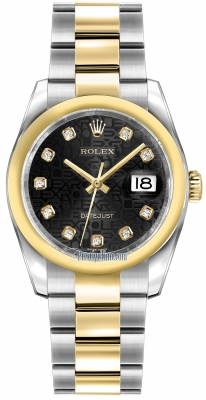 Rolex Datejust 36mm Stainless Steel and Yellow Gold 116203 Jubilee Black Diamond Oyster