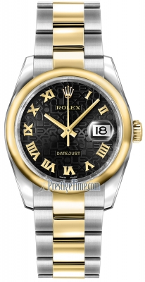 Rolex Datejust 36mm Stainless Steel and Yellow Gold 116203 Jubilee Black Roman Oyster
