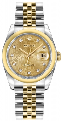 Rolex Datejust 36mm Stainless Steel and Yellow Gold 116203 Jubilee Champagne Diamond Jubilee
