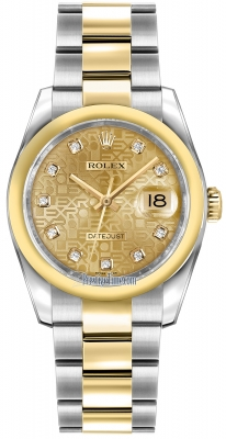 Rolex Datejust 36mm Stainless Steel and Yellow Gold 116203 Jubilee Champagne Diamond Oyster