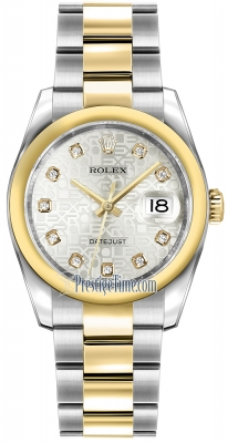 Rolex Datejust 36mm Stainless Steel and Yellow Gold 116203 Jubilee Silver Diamond Oyster