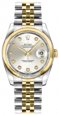 Rolex Datejust 36mm Stainless Steel and Yellow Gold 116203 Silver Diamond Jubilee