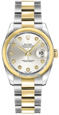 Rolex Datejust 36mm Stainless Steel and Yellow Gold 116203 Silver Diamond Oyster