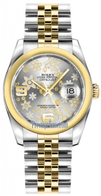 Rolex Datejust 36mm Stainless Steel and Yellow Gold 116203 Silver Floral Jubilee