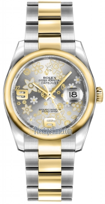 Rolex Datejust 36mm Stainless Steel and Yellow Gold 116203 Silver Floral Oyster