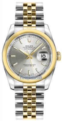 Rolex Datejust 36mm Stainless Steel and Yellow Gold 116203 Silver Index Jubilee