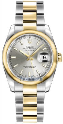 Rolex Datejust 36mm Stainless Steel and Yellow Gold 116203 Silver Index Oyster