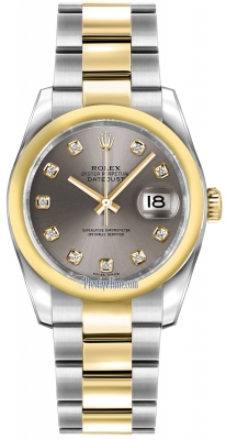 Rolex Datejust 36mm Stainless Steel and Yellow Gold 116203 Steel Diamond Oyster