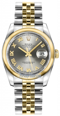 Rolex Datejust 36mm Stainless Steel and Yellow Gold 116203 Steel Roman Jubilee