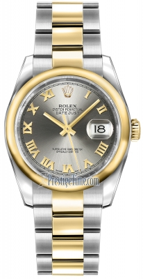 Rolex Datejust 36mm Stainless Steel and Yellow Gold 116203 Steel Roman Oyster