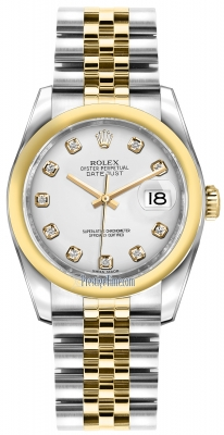 Rolex Datejust 36mm Stainless Steel and Yellow Gold 116203 White Diamond Jubilee