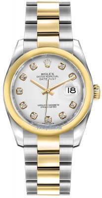 Rolex Datejust 36mm Stainless Steel and Yellow Gold 116203 White Diamond Oyster