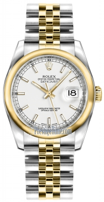 Rolex Datejust 36mm Stainless Steel and Yellow Gold 116203 White Index Jubilee