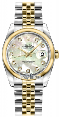 Rolex Datejust 36mm Stainless Steel and Yellow Gold 116203 White MOP Diamond Jubilee