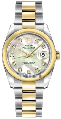 Rolex Datejust 36mm Stainless Steel and Yellow Gold 116203 White MOP Diamond Oyster