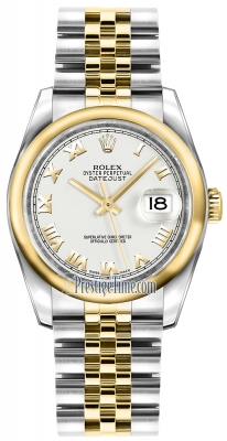 Rolex Datejust 36mm Stainless Steel and Yellow Gold 116203 White Roman Jubilee