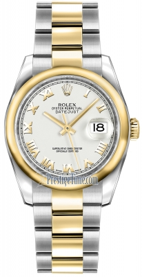 Rolex Datejust 36mm Stainless Steel and Yellow Gold 116203 White Roman Oyster