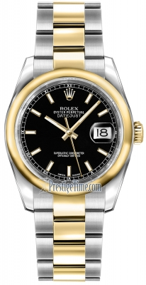 Rolex Datejust 36mm Stainless Steel and Yellow Gold 116203 Black Index Oyster