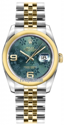 Rolex Datejust 36mm Stainless Steel and Yellow Gold 116203 Green Floral Jubilee