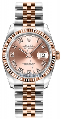 Rolex Datejust 36mm Stainless Steel and Rose Gold 116231 Pink Roman Jubilee