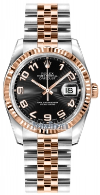 Rolex Datejust 36mm Stainless Steel and Rose Gold 116231 Black Concentric Arabic Jubilee