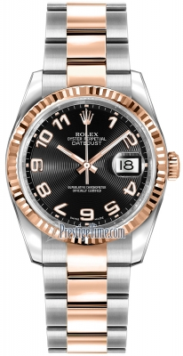 Rolex Datejust 36mm Stainless Steel and Rose Gold 116231 Black Concentric Arabic Oyster